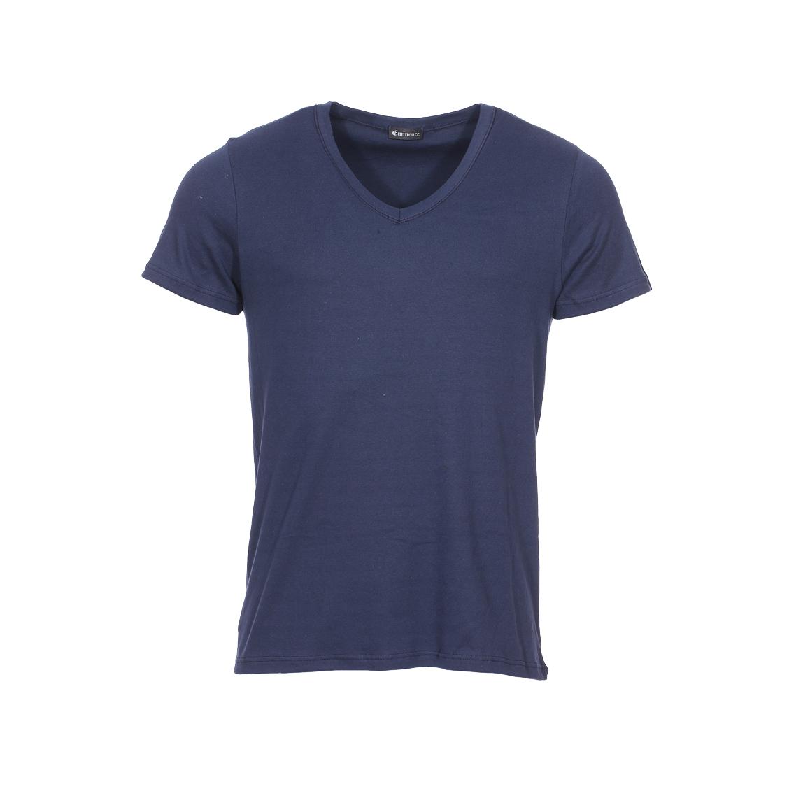 Tee-shirt col V Eminence L'Optimum en coton bleu marine, tissu français
