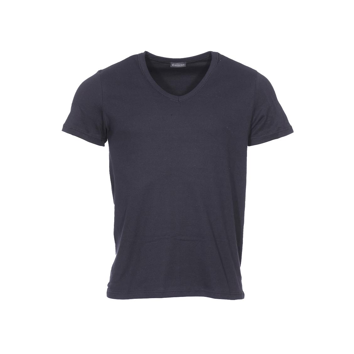 Tee-shirt col V Eminence L'Optimum en coton noir, tissu français