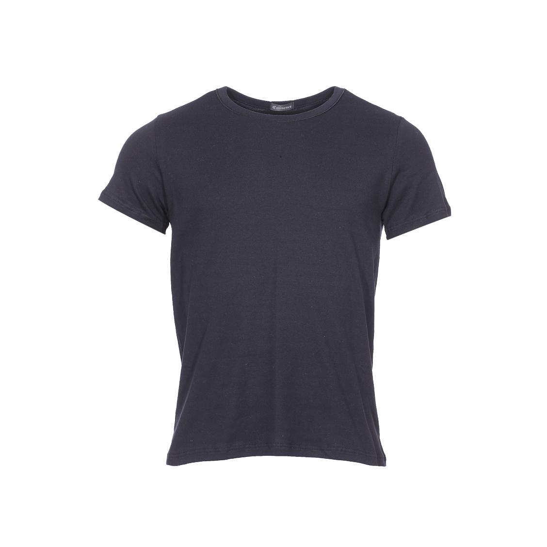 Tee-shirt col rond Eminence L'Optimum en coton noir, tissu français