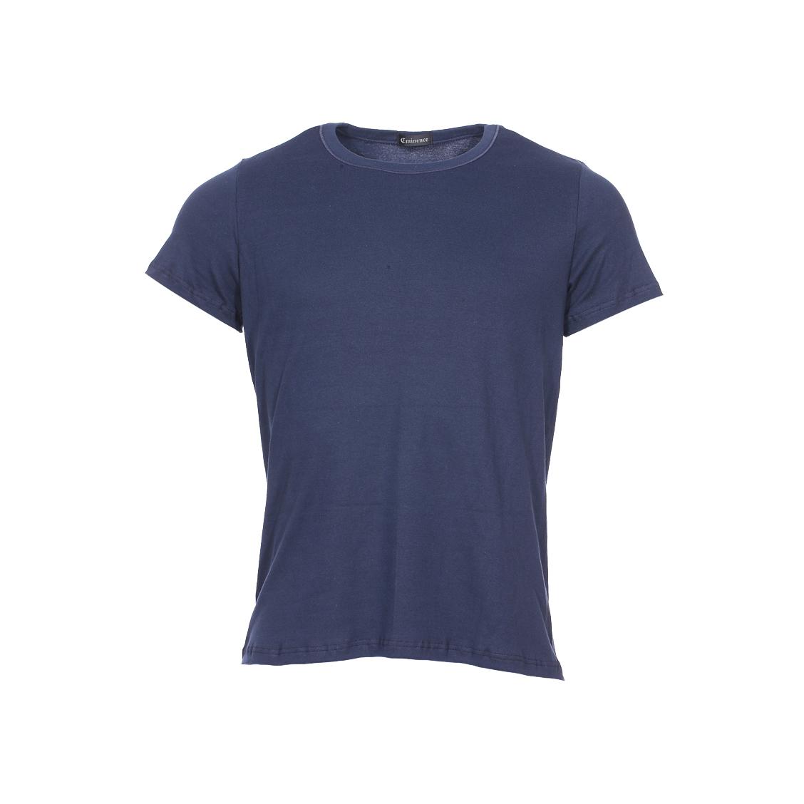 Tee-shirt col rond Eminence L'Optimum en coton bleu marine, tissu français