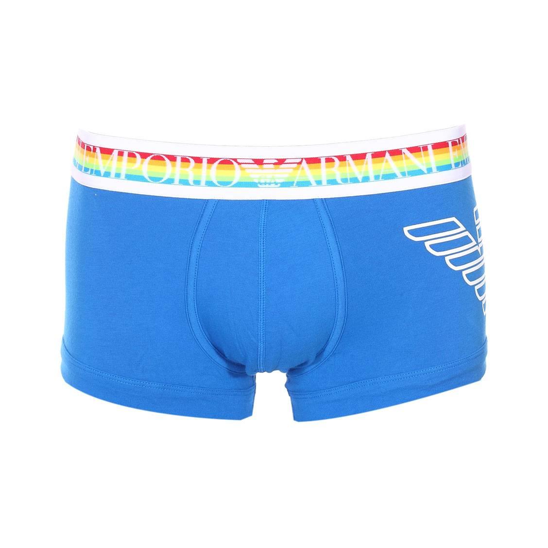 Boxer  en coton stretch bleu roi à ceinture arc-en-ciel