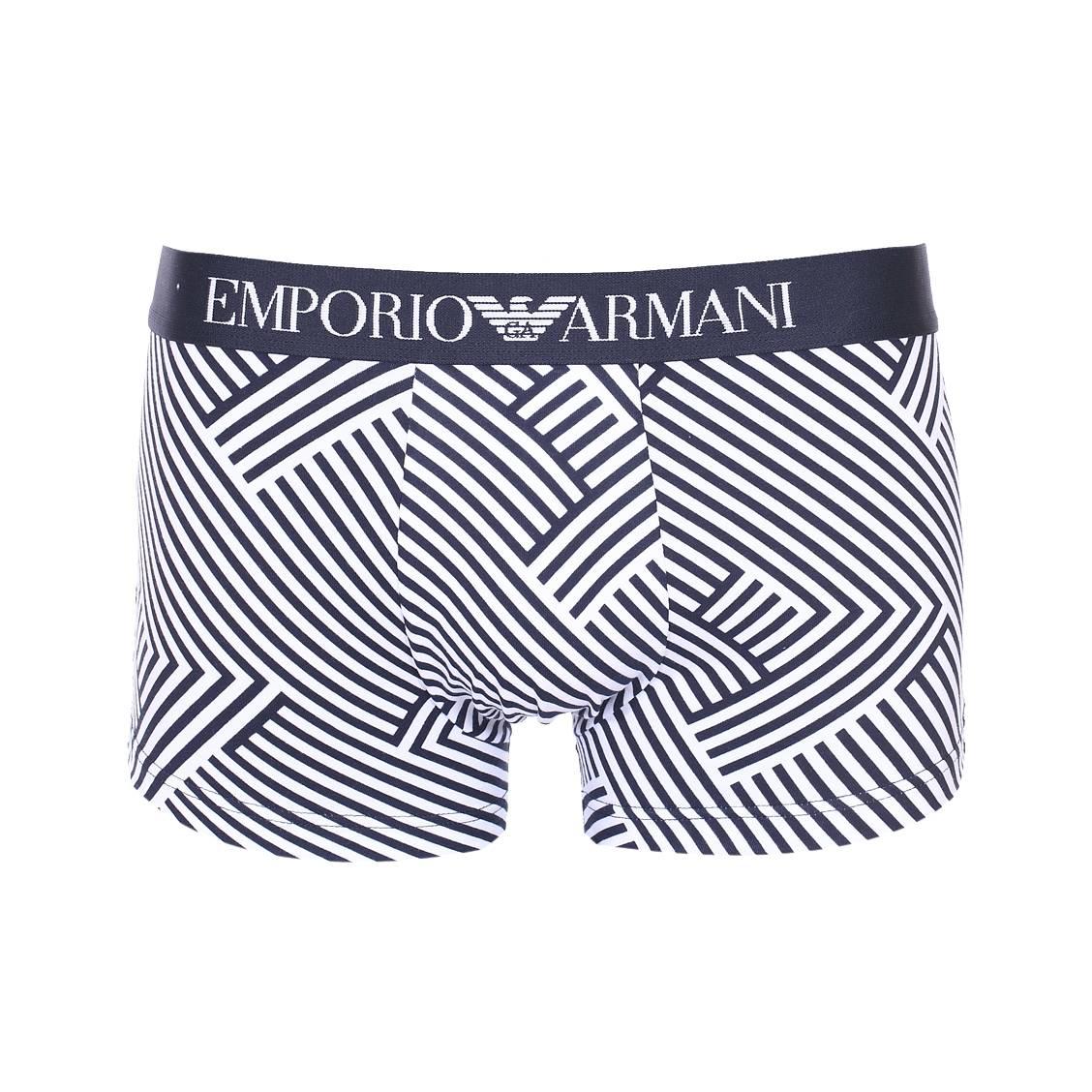 Boxer  en coton stretch bleu marine à motifs géométriques