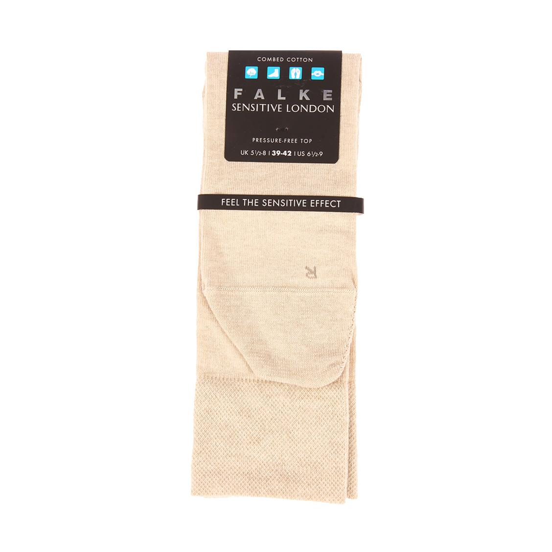Chaussettes confort Falke Sensitive London en coton peigné stretch sable chiné