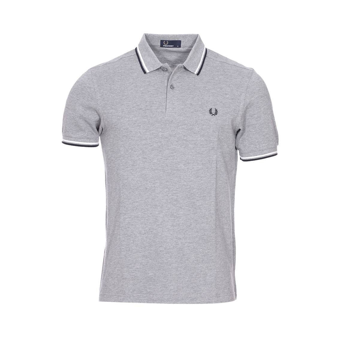 Polo Fred Perry Twin Tipped en piqué de coton kaki pGziFN