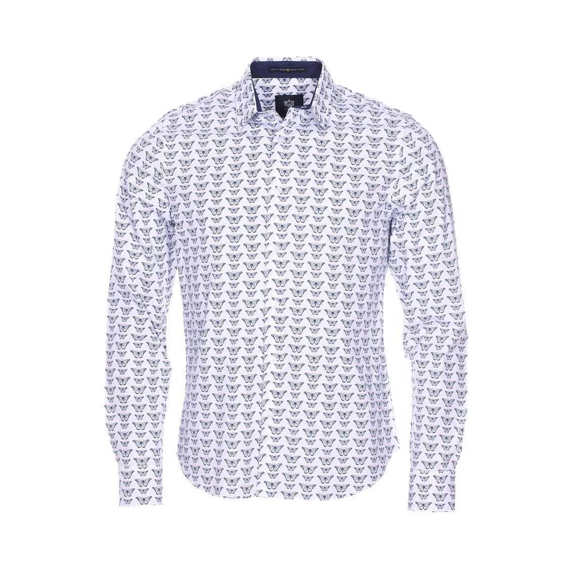 Chemise droite Freeman T. Porter Come Butterfly Original en coton mélangé blanc à motifs papillons