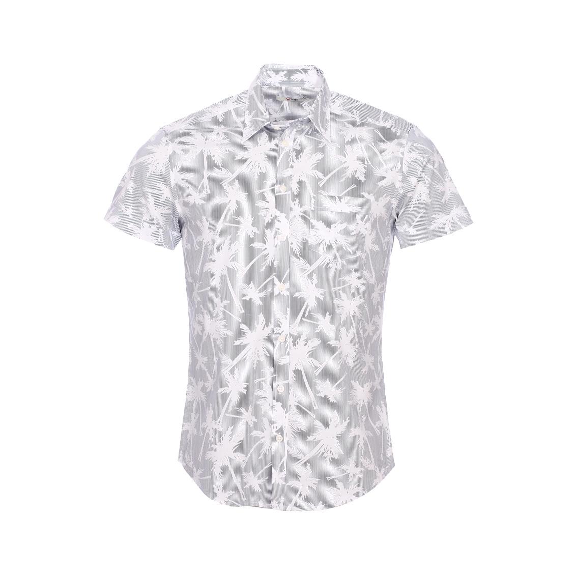 Chemise droite manches courtes Gaudi en coton stretch blanc à rayures bleu marine et à motif palmier