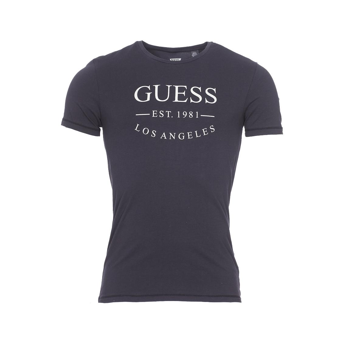 Tee-shirt col rond guess en coton stretch noir floqué en gris