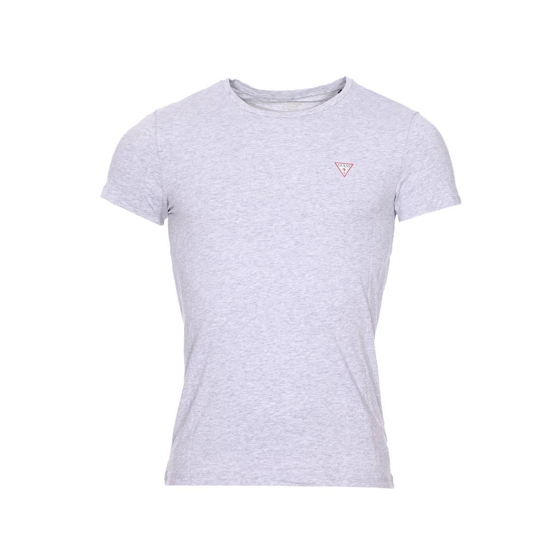 Tee-shirt col rond guess en coton stretch gris chiné à logo