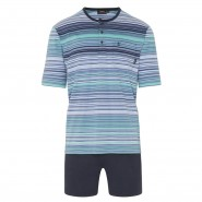 Pyjama court Hajo Klima-Komfort : tee-shirt col tunisien à rayures bleu indigo, bleu marine, bleu turquoise et blanches et short bleu marine