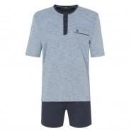 Pyjama court Hajo Klima-Komfort : tee-shirt col tunisien bleu ciel à rayures bleu marine et short bleu marine