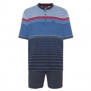 Pyjama court Hajo Klima-Komfort : tee-shirt col tunisien bleu dégradé à rayures rouges et bleues, short bleu marine