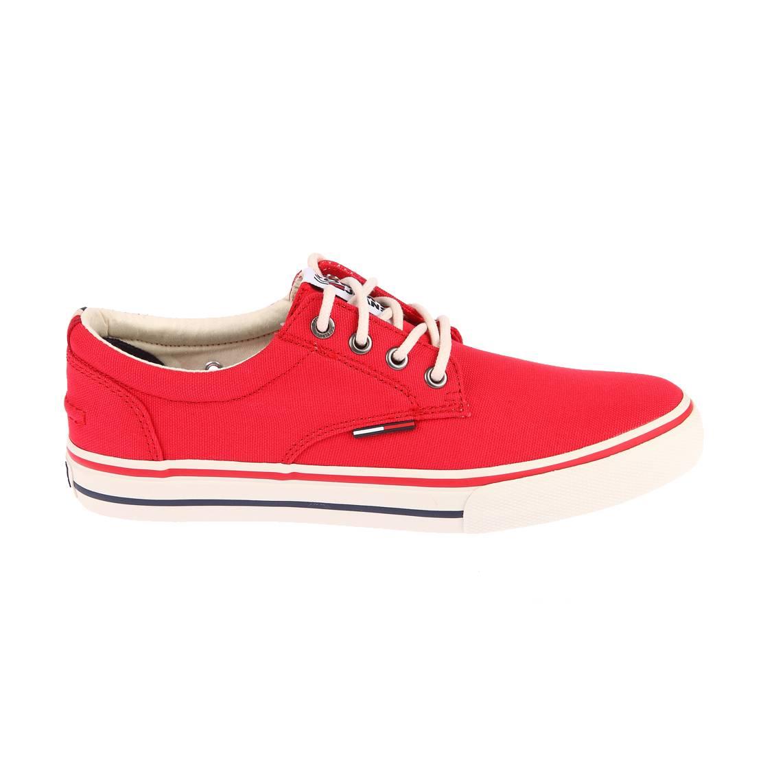 Baskets Tommy Jeans en toile rouge floquées