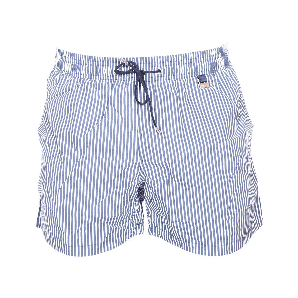 145cc3c5c96 Short de bain Hom Splash à rayures bleu marine et blanches ...