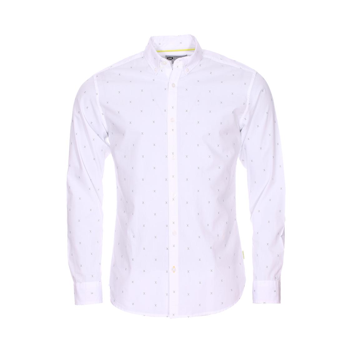 Chemise cintrée  en coton blanc à motifs