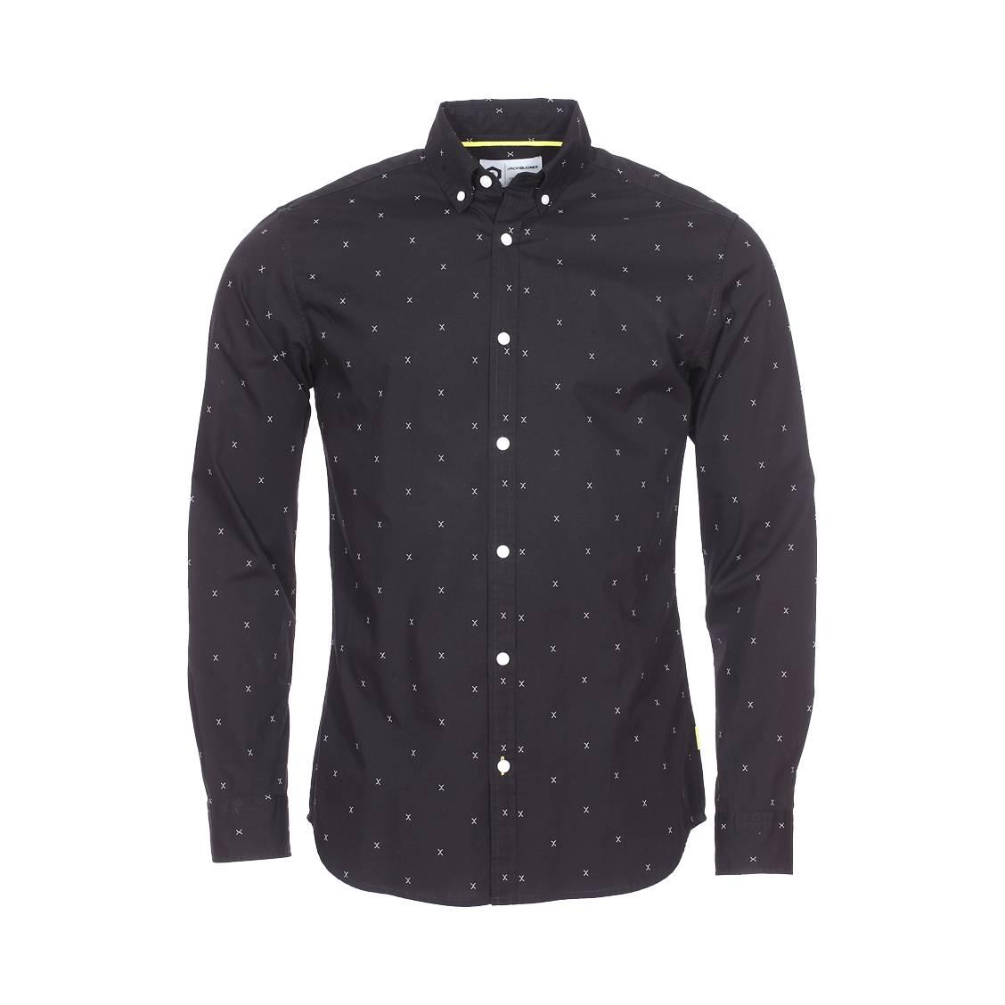 93fa16622cdbdc Chemise cintrée Jack & Jones en coton noir à motifs | Rue Des Hommes