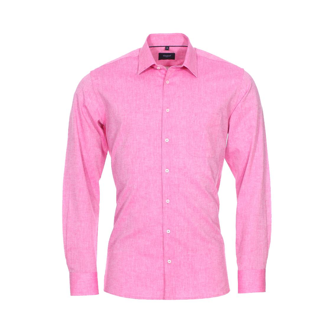 Chemise ajustée Jean Chatel London en coton et lin rose chiné