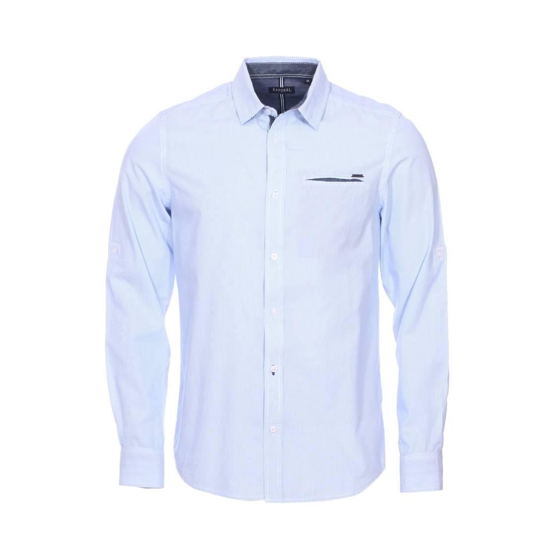 Chemise droite  surf en coton à rayures bleu ciel et blanches