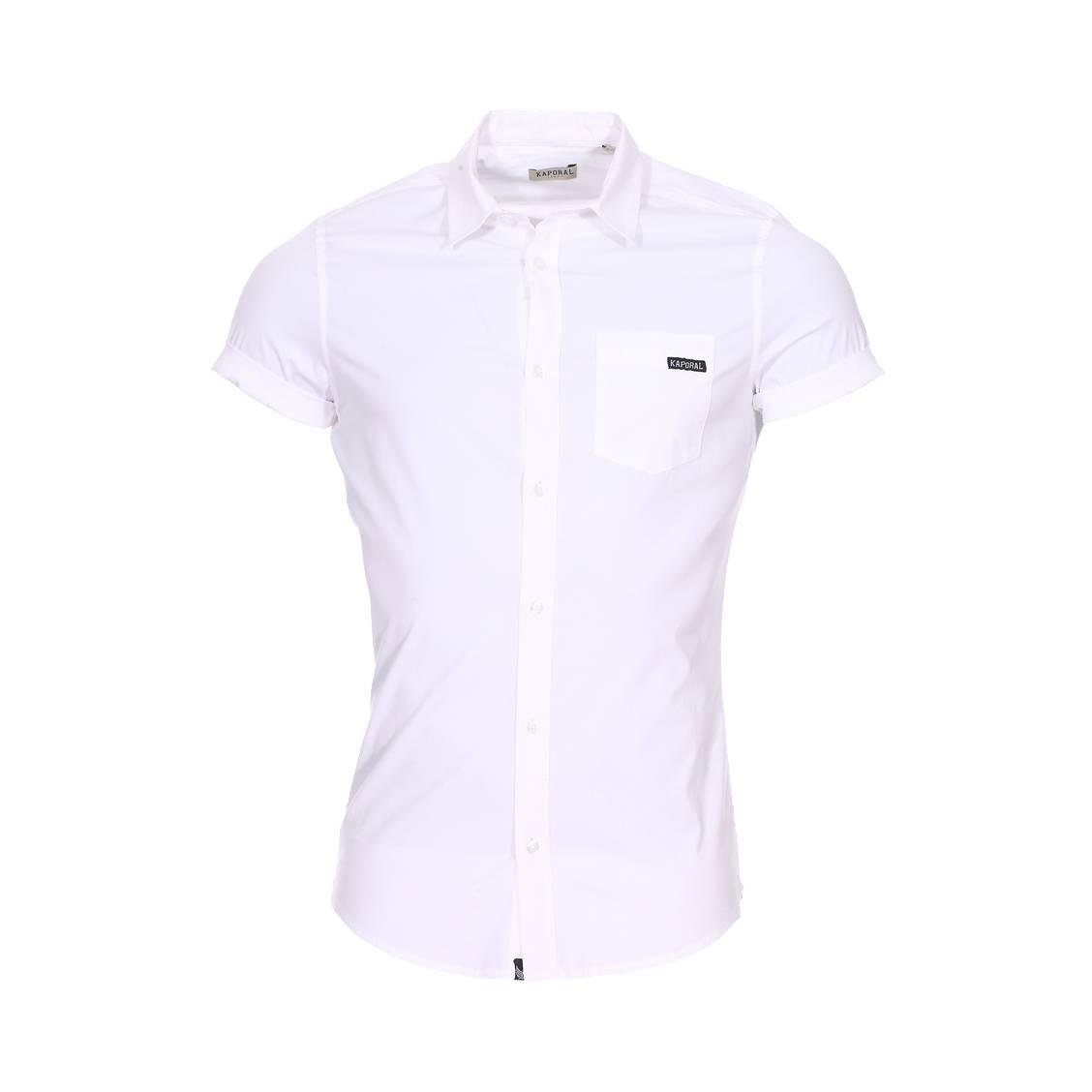 Chemise manches courtes cintrée  logik en coton stretch blanc