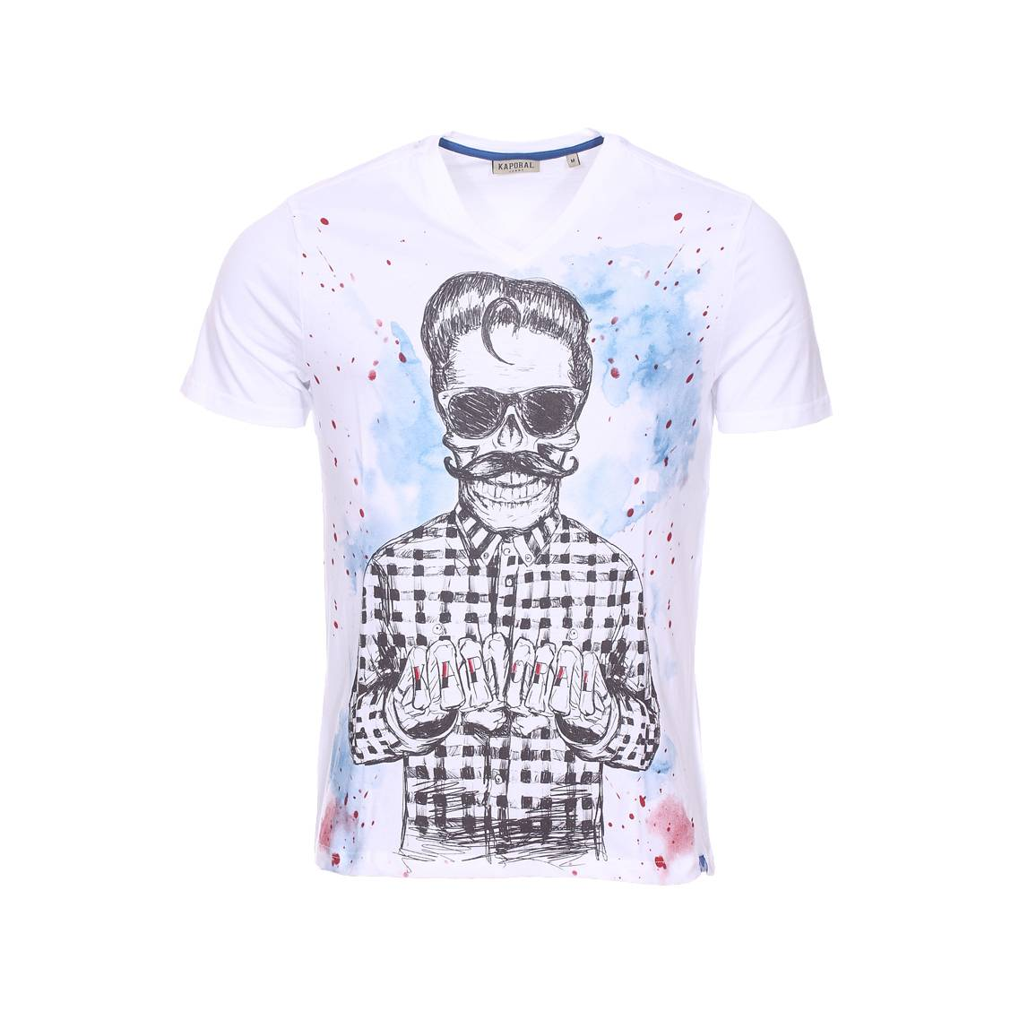 Tee-shirt col v  hopra en coton blanc à imprimé