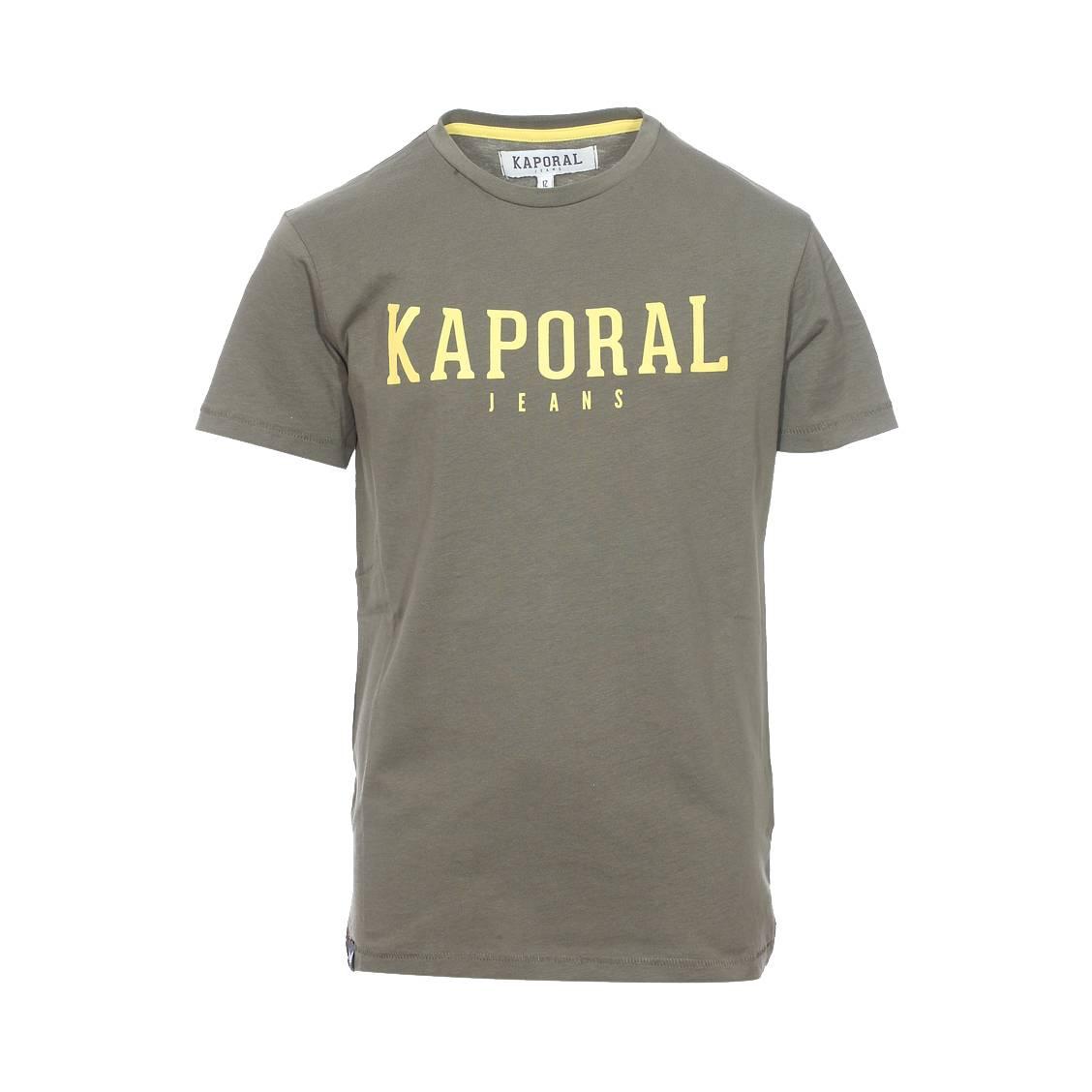 Tee-shirt col rond  rona en coton kaki floqué en jaune