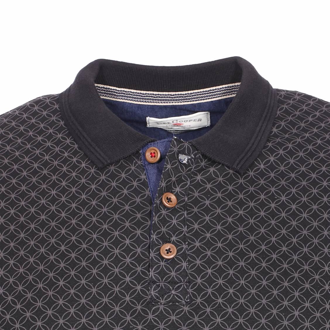 Polo Lee Cooper Boyle en coton noir à motifs gris anthracite cfJWi