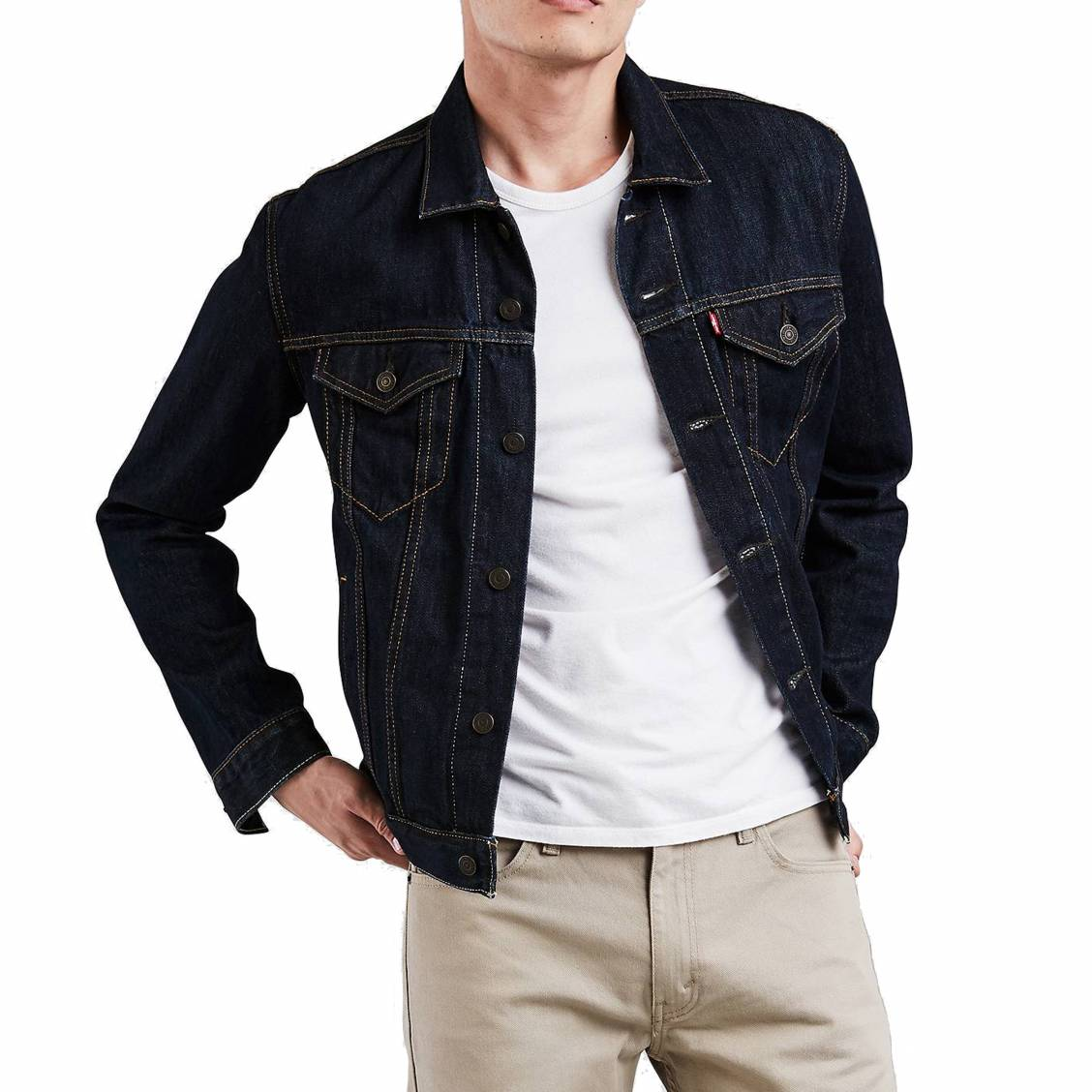 veste en jean trucker levi 39 s rinse bleu fonc rue des hommes. Black Bedroom Furniture Sets. Home Design Ideas
