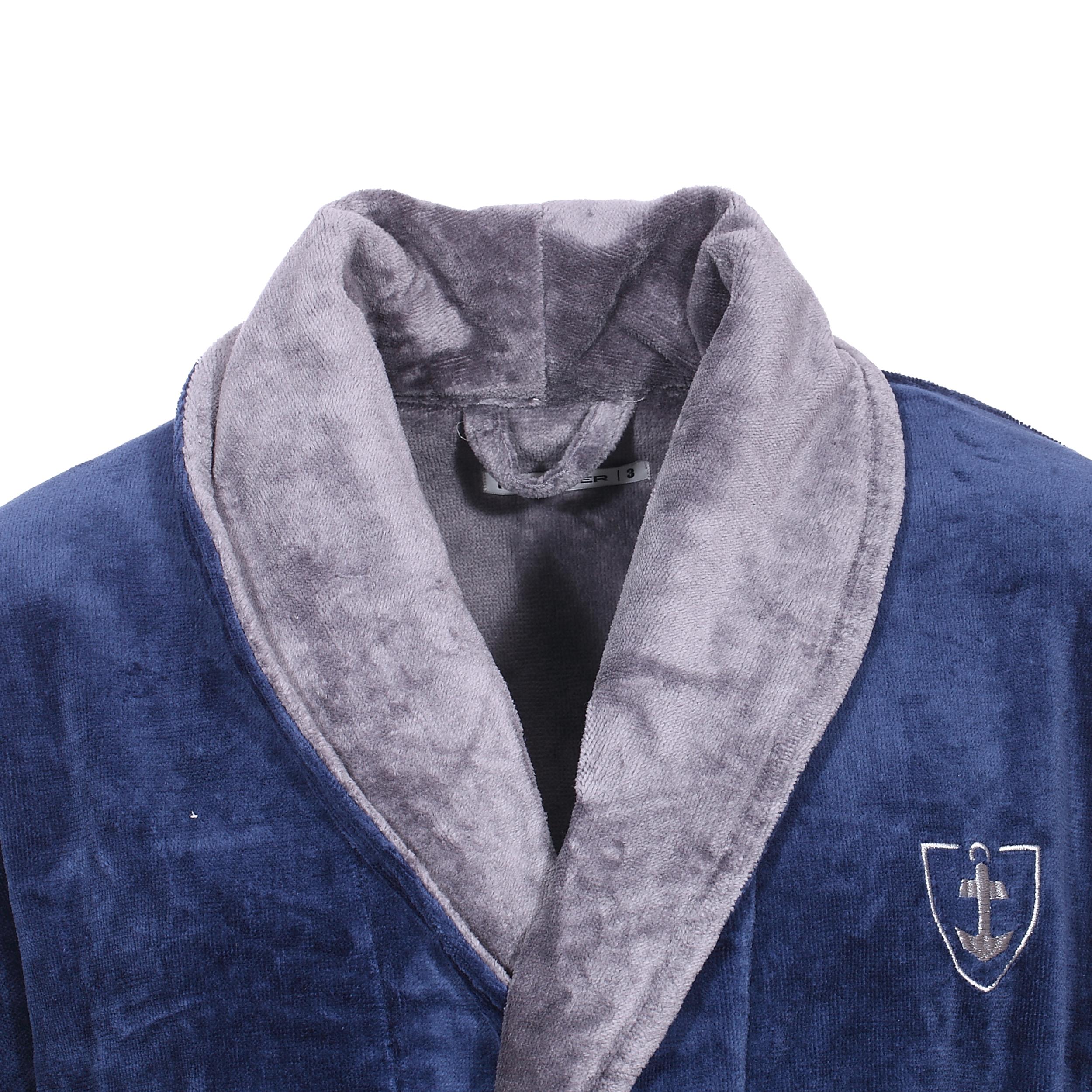 Peignoir eponge Mariner marine et gris a exterieur en velours-2-0.jpg 208792825d7