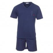 Pyjama court Mariner bi-matière : tee-shirt col V en jersey de coton bleu marine et pantalon en popeline de coton bleu marine à rayures bleu indigo et motifs blancs et rouges