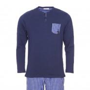 Pyjama long Mariner bi-matière : tee-shirt manches longues col tunisien en jersey de coton bleu marine et pantalon en popeline de coton bleu roi à carreaux blancs