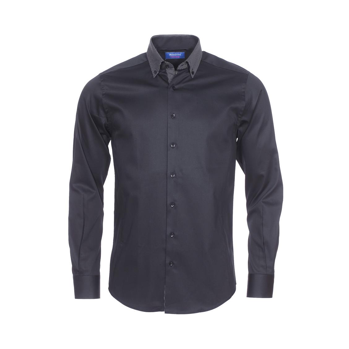 Chemise ajustée  en coton noir à opposition noire à pois blancs
