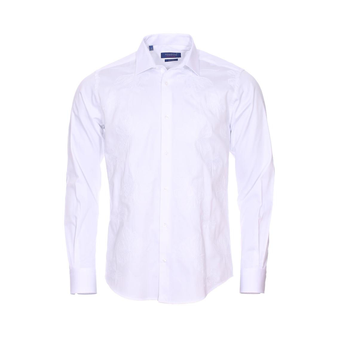 Chemise cintrée  broderie en coton blanc à fleurs brodées ton sur ton