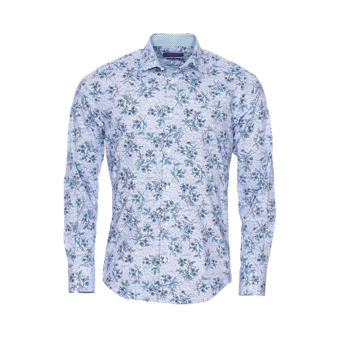 Chemise cintrée  fantaisie en coton stretch blanc à effet tacheté bleu marine et fleurs bleu turquoise