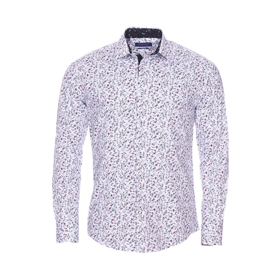 Chemise cintrée  fantaisie en coton stretch blanc à imprimé fleuri