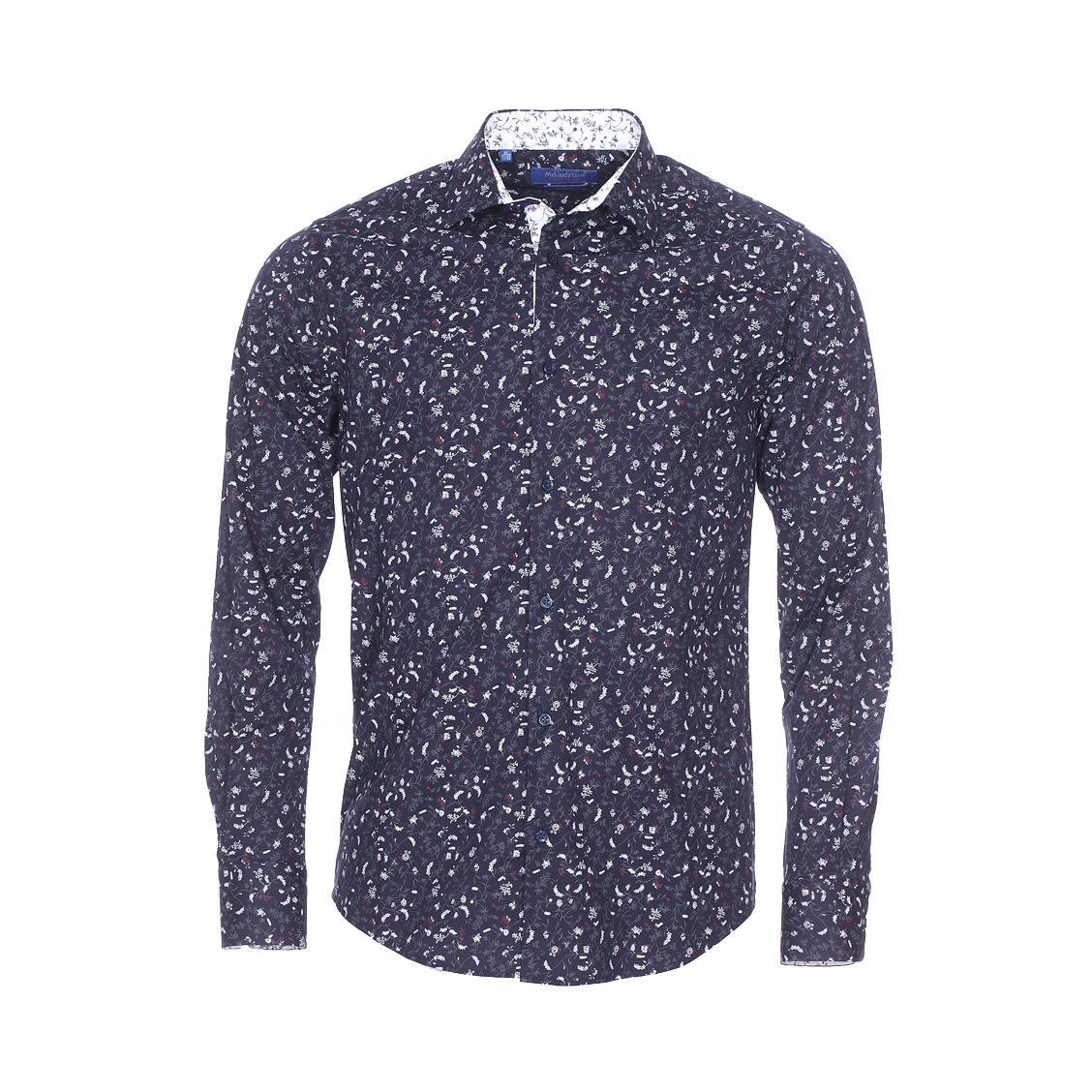 Chemise cintrée  fantaisie en coton stretch bleu marine à imprimé fleuri