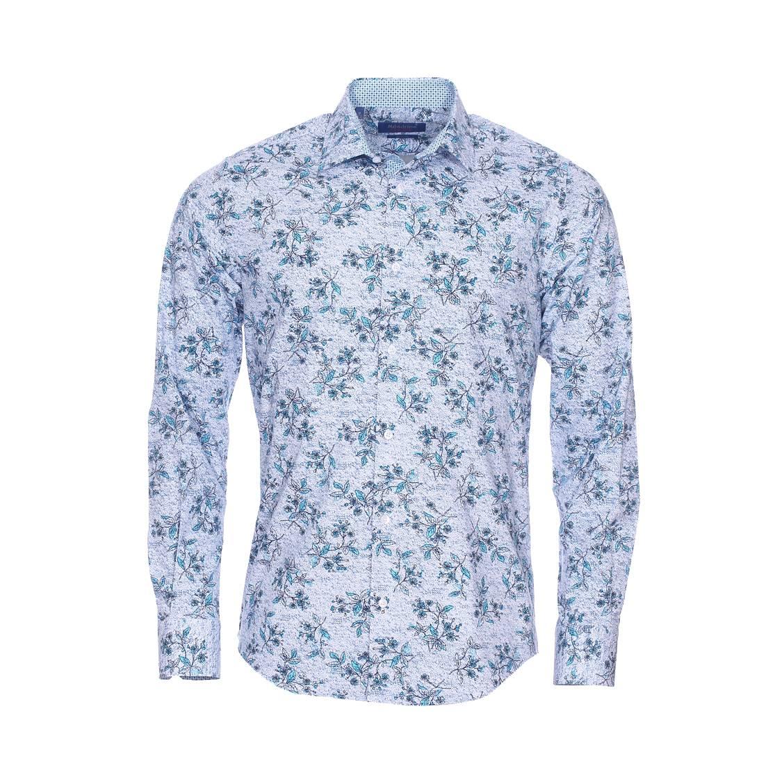 99ddd2ec7cdb Chemise cintrée Méadrine Fantaisie en coton stretch blanc à effet tâcheté  bleu marine et fleurs bleu ...