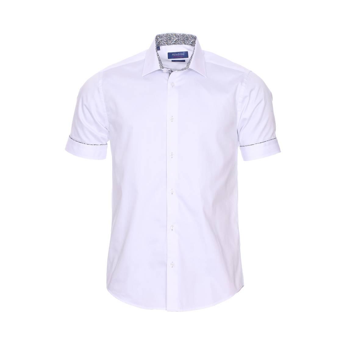 Chemise manches courtes cintrée  basic en coton blanc à opposition imprimé floral fantaisie