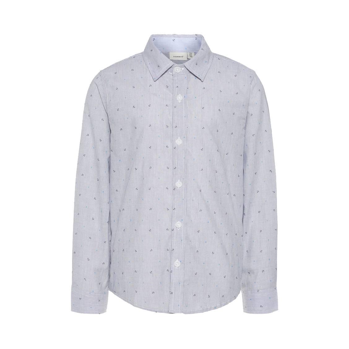 Chemise  nkmias en coton bleu foncé rayé à imprimé à ancres et pois