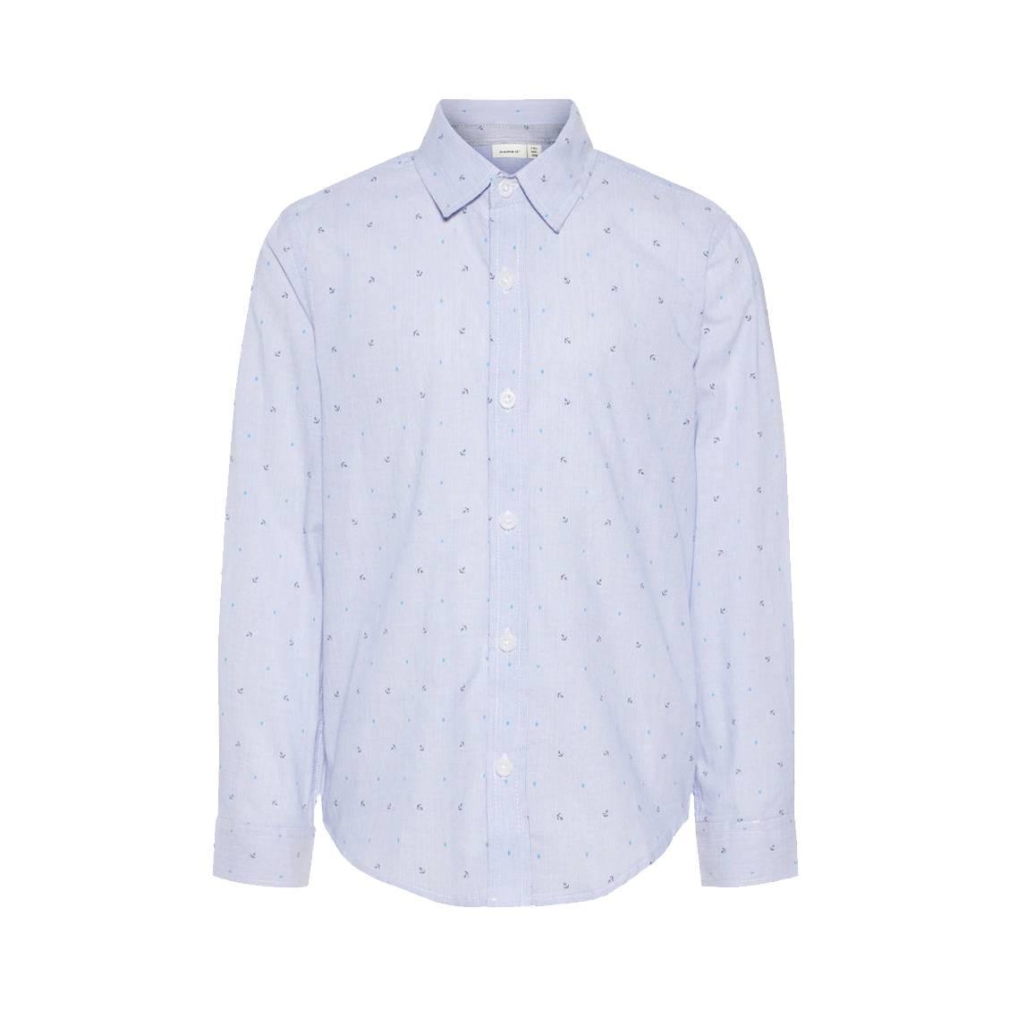 Chemise  nkmias en coton bleu rayé à imprimé à ancres et pois