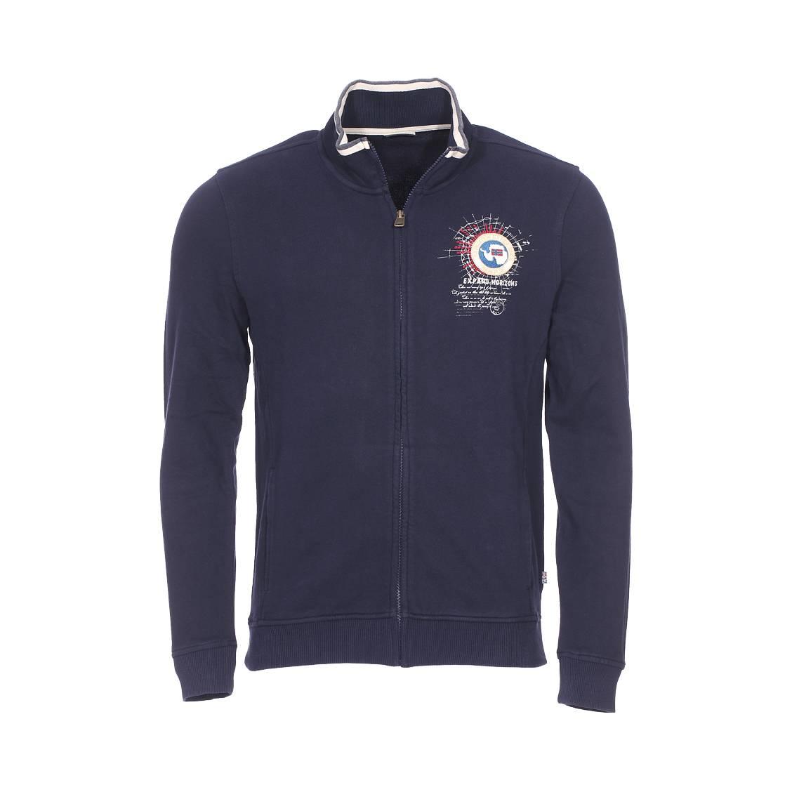 Sweat zippé Napapijri Bochil en coton bleu marine | Rue Des Hommes