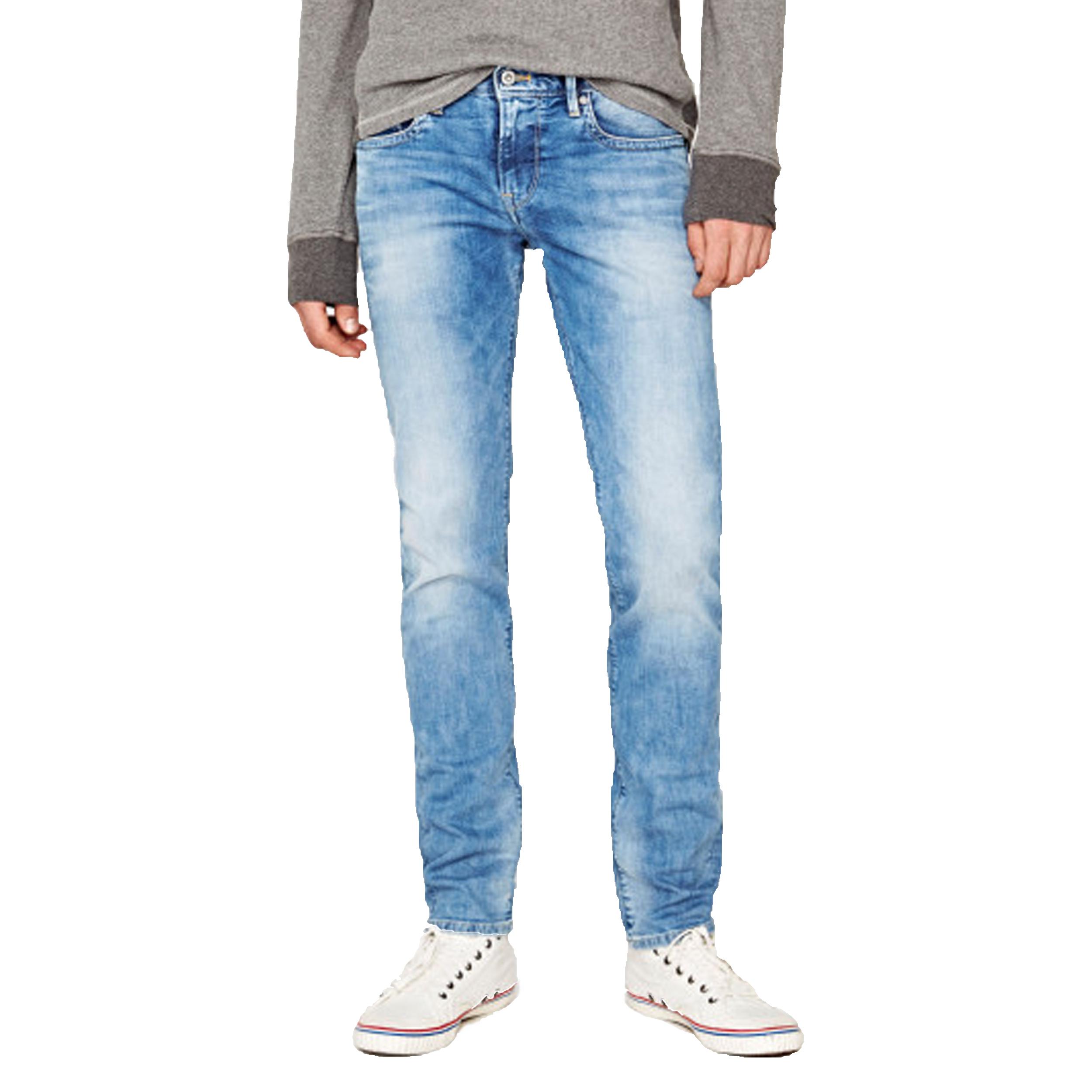 Jean slim  hatch en coton bleu clair délavé