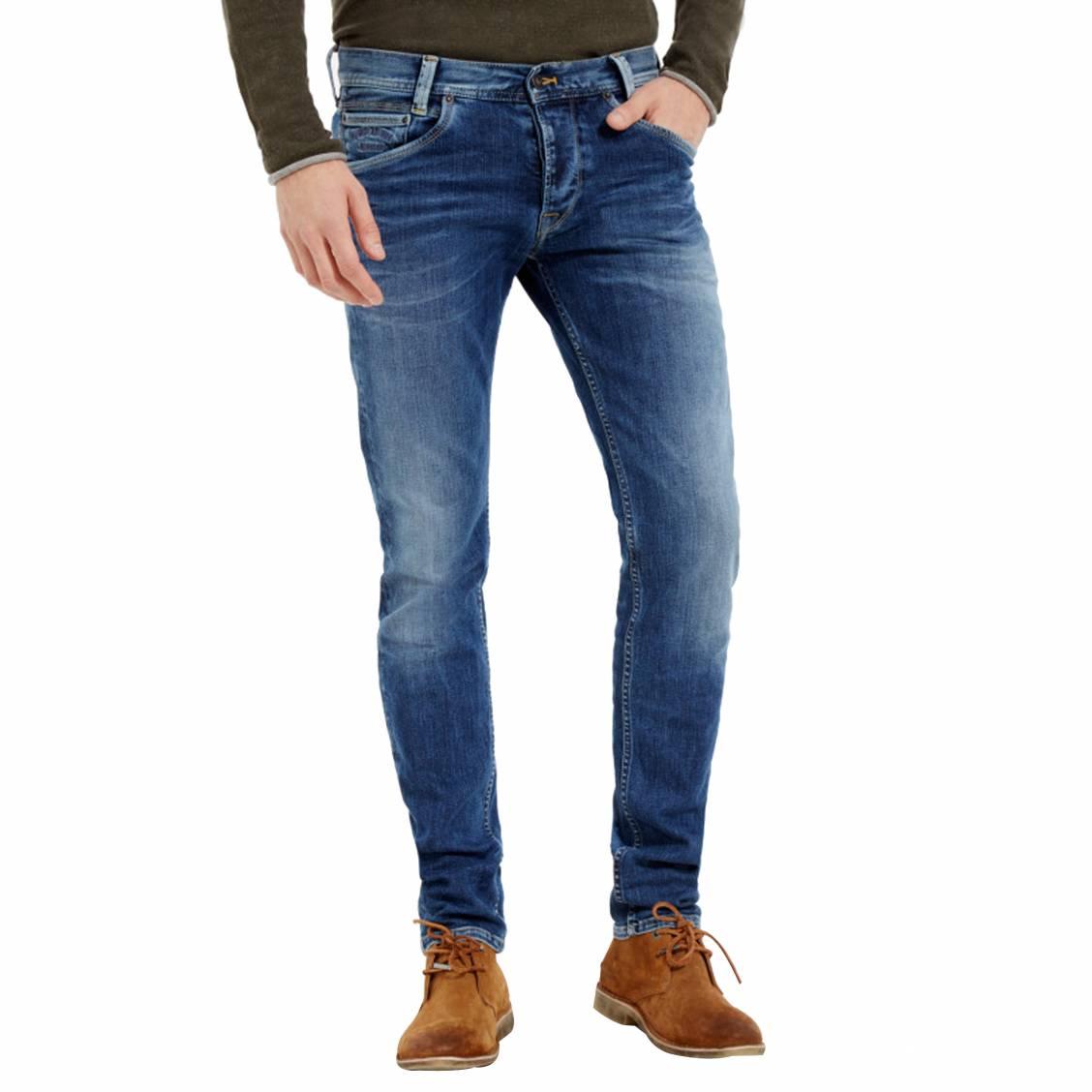 6cf79ed958cdf Jean coupe droite Pepe Jeans Spike en coton stretch bleu délavé ...