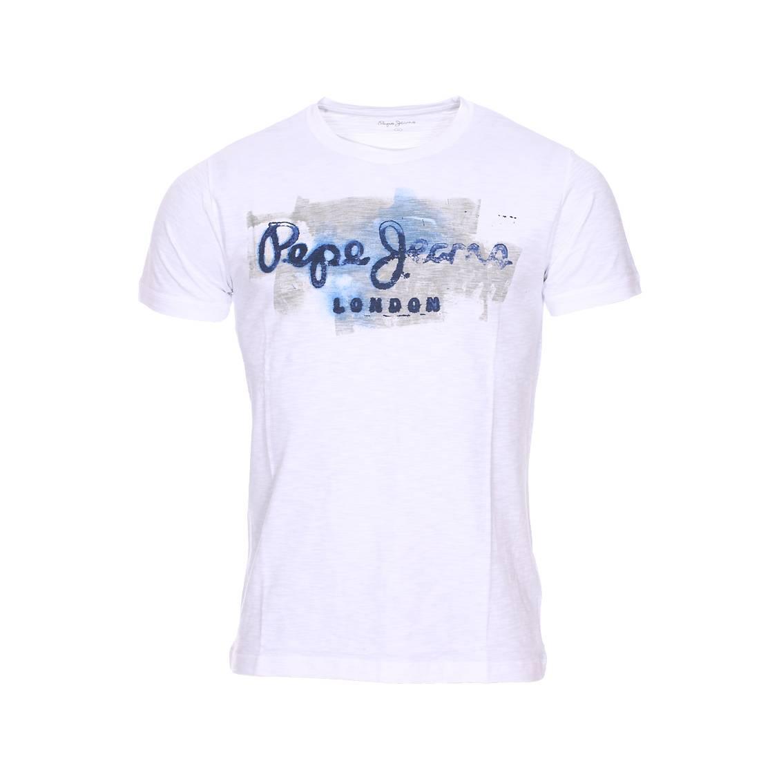 Tee-shirt col rond  golders en coton blanc floqué