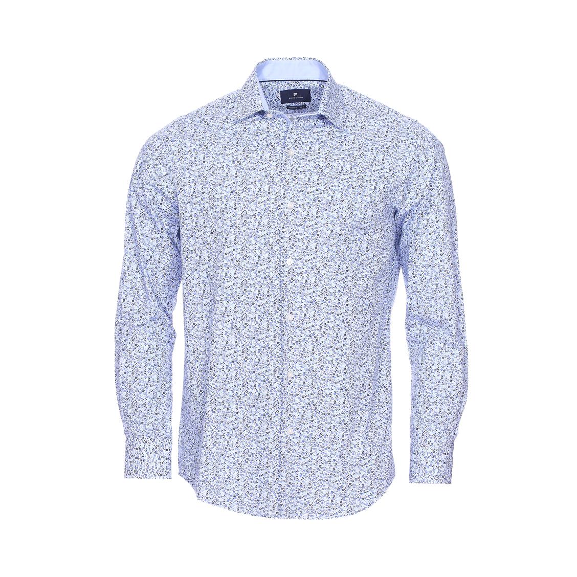 Chemise ajustée  en coton à motifs floraux bleu marine et bleu ciel