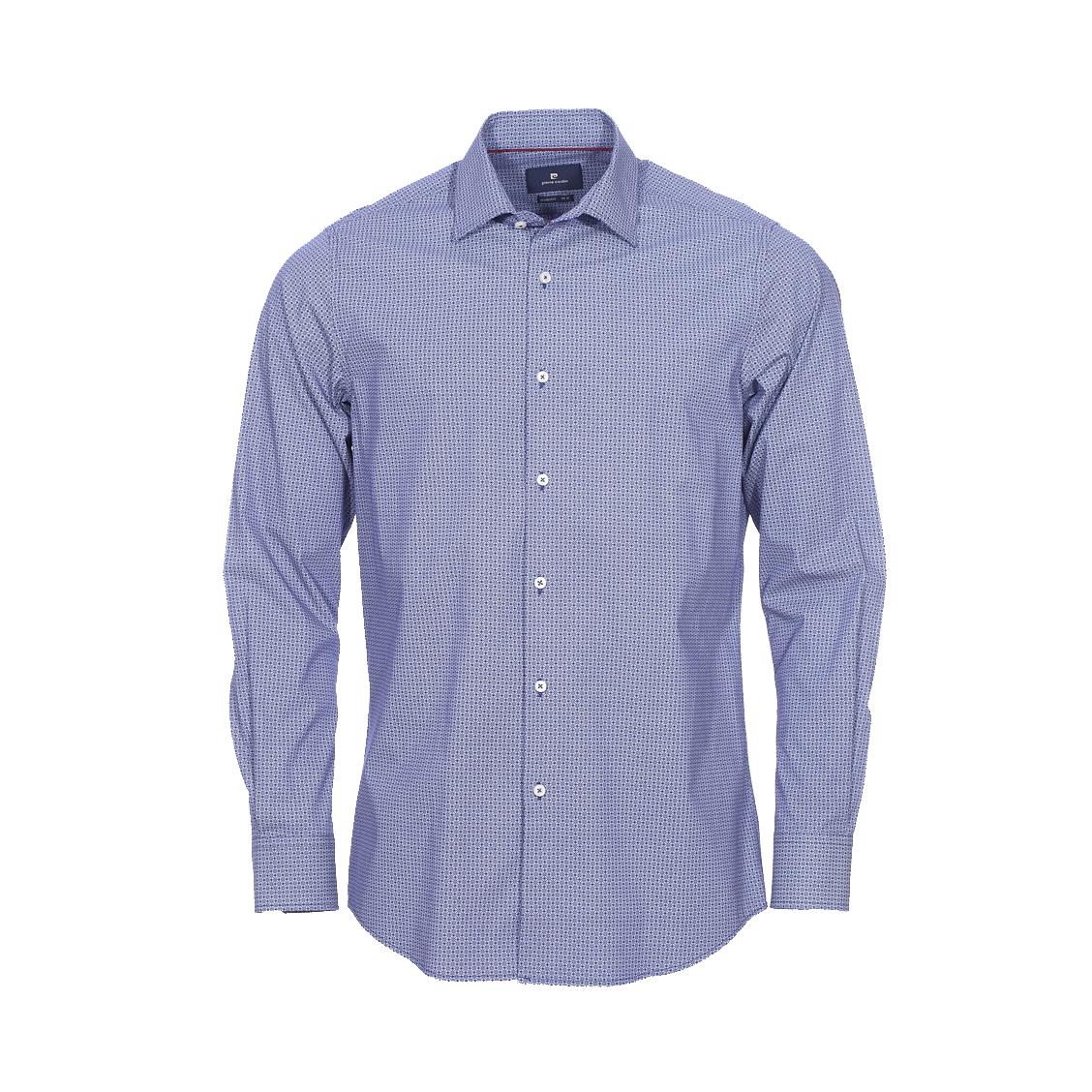 Chemise ajustée  en coton stretch bleu marine à motifs blancs