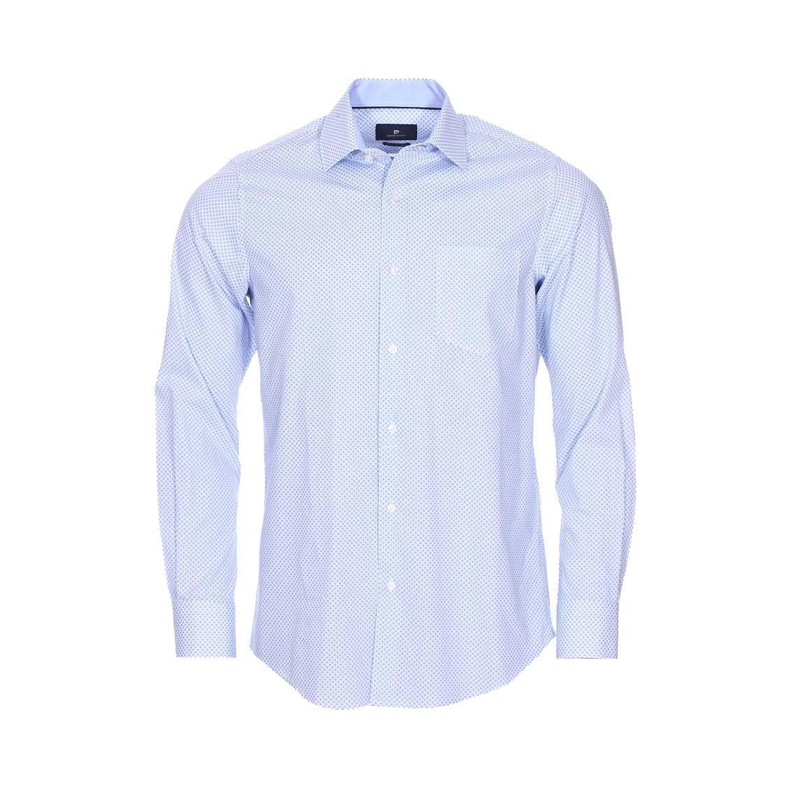 Chemise ajustée  en coton blanc à motifs bleu ciel et bleu marine