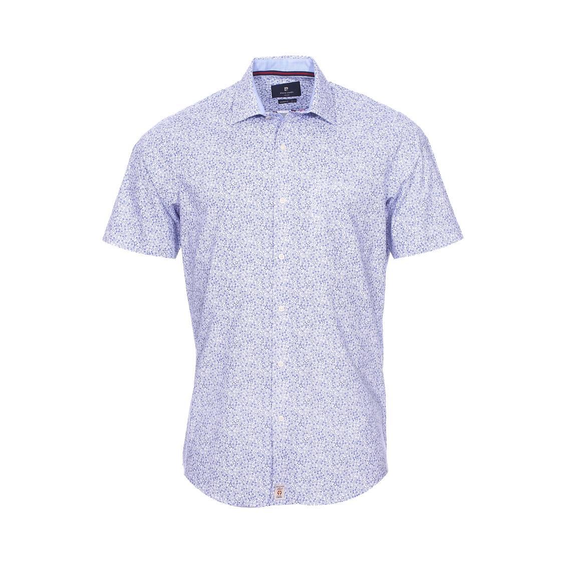 Chemise manches courtes ajustée  en coton blanc à motif floral bleu
