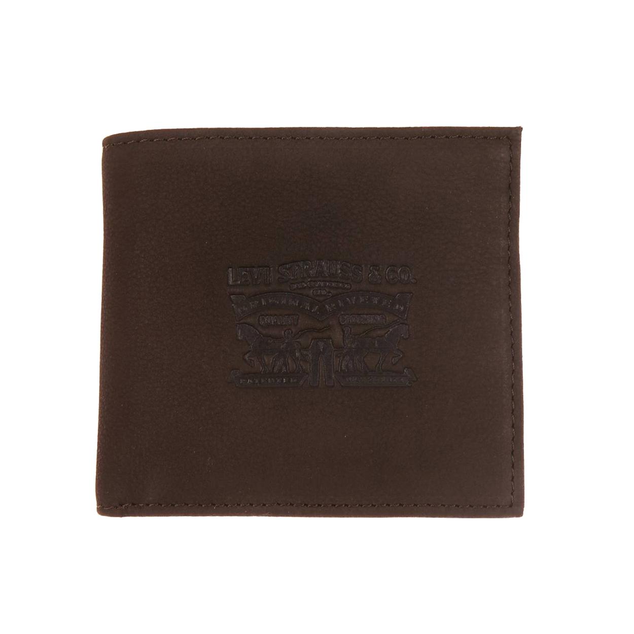 Portefeuille italien 2 volets levi\'s vintage two horse en cuir marron à porte-monnaie