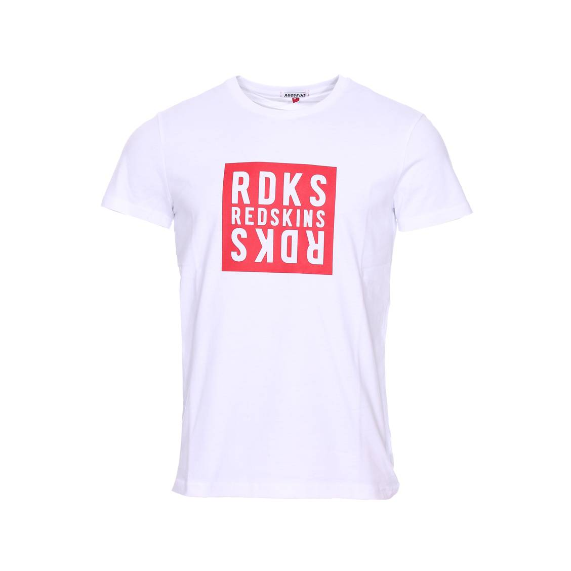 Tee-shirt col rond  flip basic en coton blanc floqué en rouge