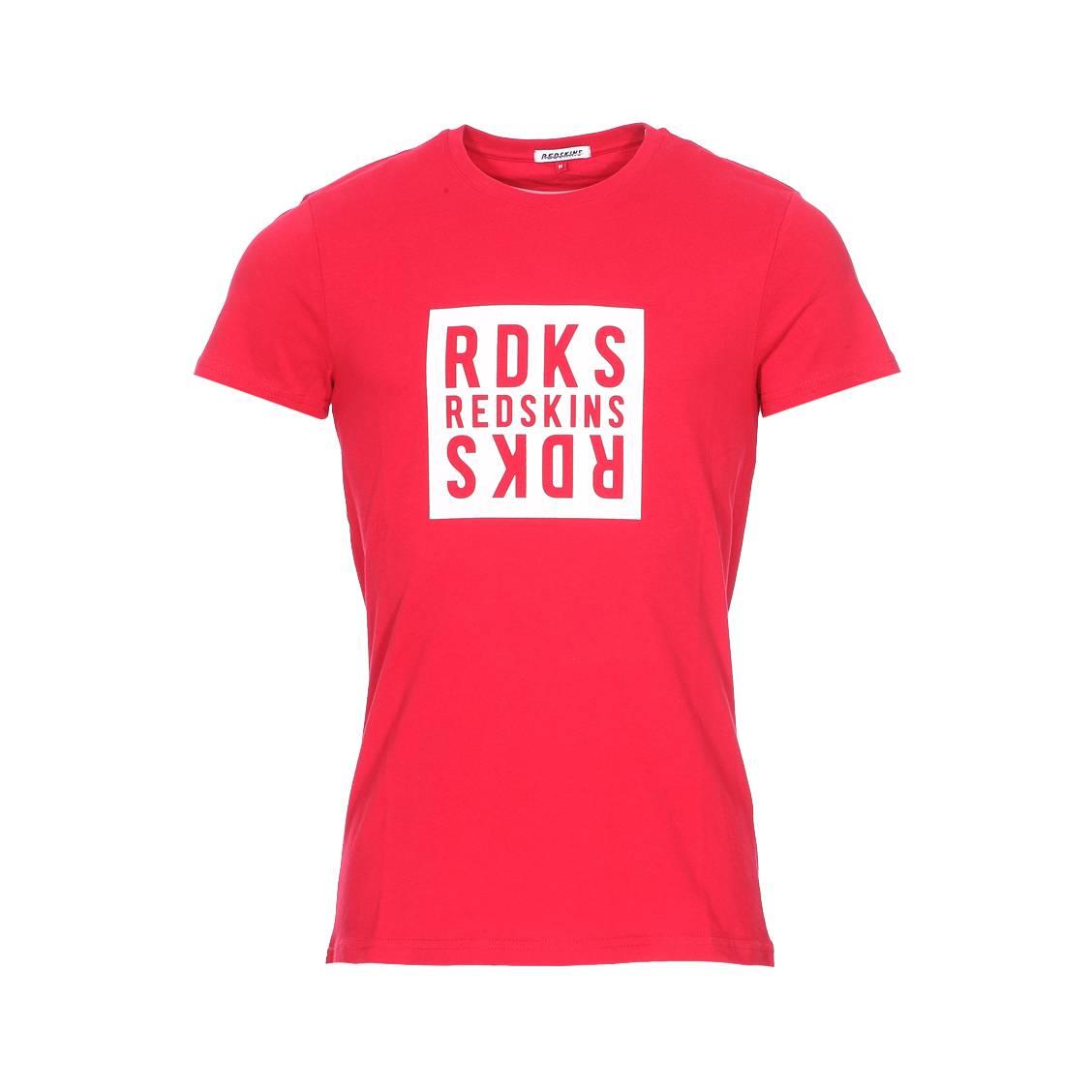 Tee-shirt col rond  flip basic en coton rouge floqué en blanc