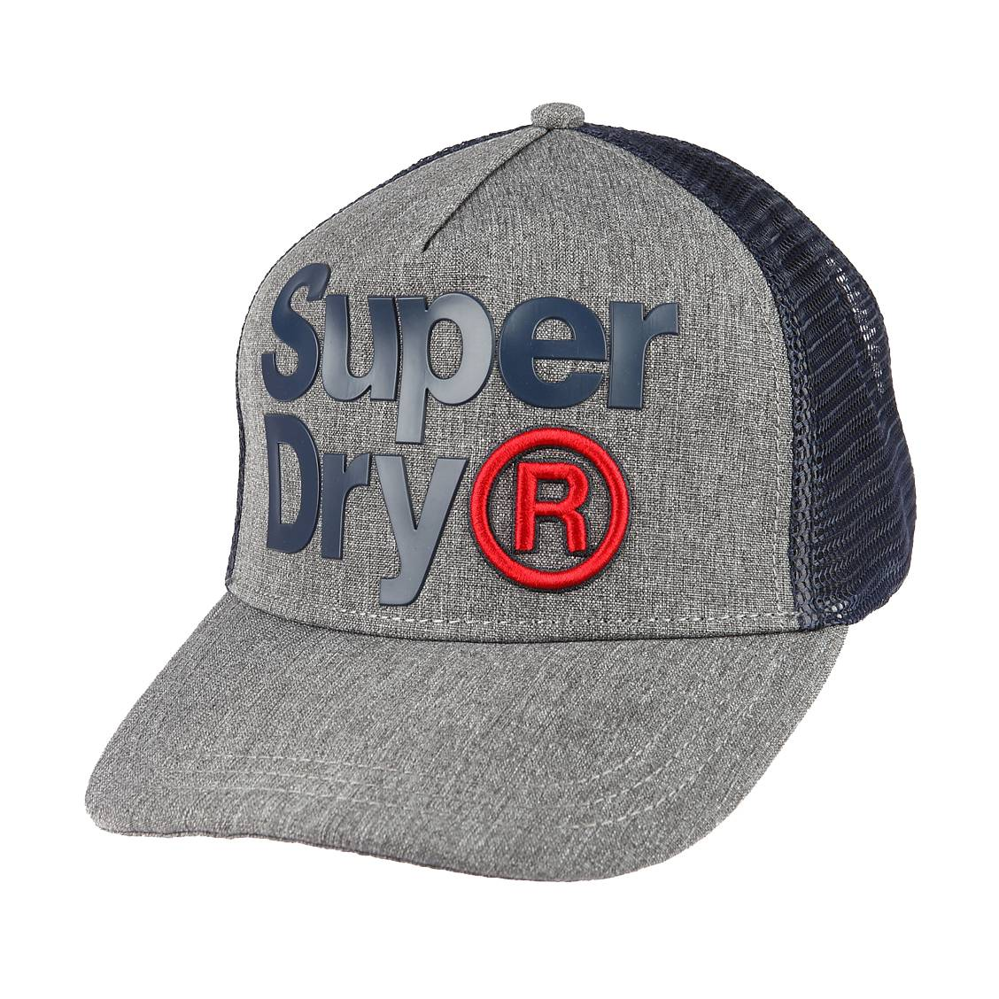 casquette superdry lineman trucker gris chin et bleu marine rue des hommes. Black Bedroom Furniture Sets. Home Design Ideas